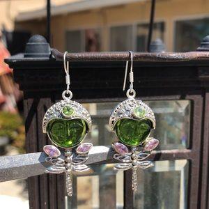 Jewelry - Face Green Dragonfly Sterling Silver Earrings
